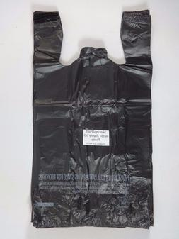 "1/6 Plastic T-Shirt Bags with Handles Black 11.5""x 6.5""x 22"""