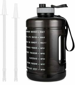 1 Gallon Water Bottle With Straw And Handle Time Marker Gym