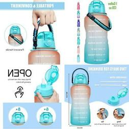 1 Gallon Water Bottle With Time Marker And Straw Handle Bpa