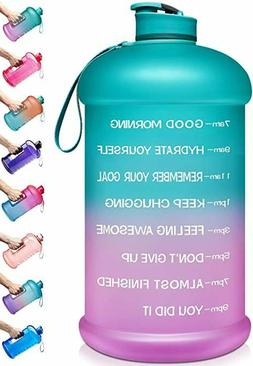 1 Gallon Water Bottle with Time Marker & Handle BPA Free Gym