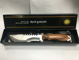 12 Inch Wood Handle Hunting Knife with Sheath Survival Stain