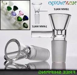 14mm / 18mm Clear Slide Male Glass Bowl With Handle Funnel T