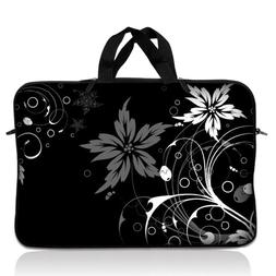 "15"" 15.6"" Laptop Notebook Sleeve Bag Case w Handle Black Flo"