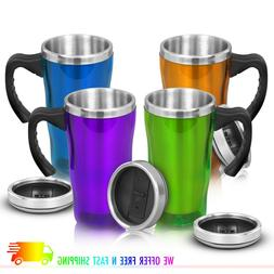 Insulated Coffee Travel Mug Cup with Handle Stainless Steel