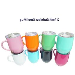 2 Pack 12 oz Handle Stainless Steel Mug Cup with Lid Double