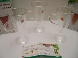3 NEW Clear Heat Resistant Double Wall Glasses 160ml with Ha