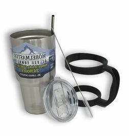 30oz stainless steel tumbler with handle straw