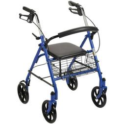 4-Wheel Walker Rollator With Fold Up Removable Back Support