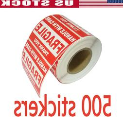 500 FRAGILE Sticker 2x3 Handle with Care Shipping Labels War