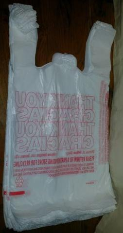 50ct Large 1/6 Thank You T-shirt Plastic Grocery Shopping Ba