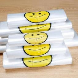 50pcs White Smiley Face Food Packaging Bags Plastic Shopping