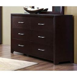 6 drawer wooden dresser with metal handle