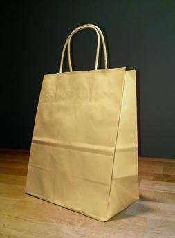 8 x 4.75 x 10.5 Kraft Brown Paper Cub Shopping Gift Bags wit