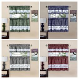 Gingham Check Live~Laugh~Love 3 Pc Kitchen Curtain Set - Ass
