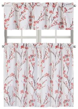 Misaki Floral Complete Kitchen Curtain Tier & Valance Set -
