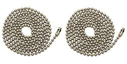 Pack Of 2 Pull Chain Extension, 36 Inch, Brushed Nickel 3-Fe