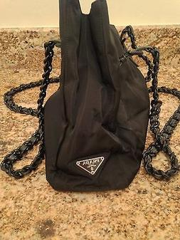 Prada Authentic Nylon Tote with Link Handle Black