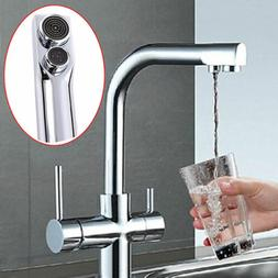 Basin Sink Mixer Tap 3 Way Double Handle Kitchen Pure Water