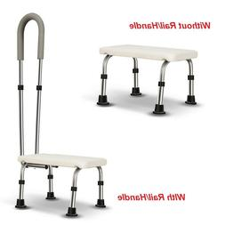 Bath Foot Step Stool With Or Without Detachable Rail Adjusta