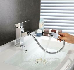 Bathroom Sink Faucets with Aerator, Flexible Pull Down Spray