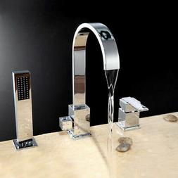 Bathtub Faucet with Handheld Shower 3 Hole Single Handle Rom