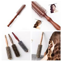 Boar Bristles Hair Brush With Wood Handle Cylinder Roll Comb