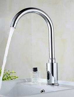 Brass Automatic Sensor Chrome Finish Bathroom Sink Faucet -