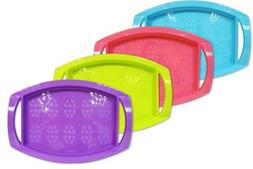 Bright Plastic Serving Trays Dinner Lap Trays With Handles S
