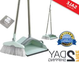 Broom and Dust Pan Set with Long Handle for Home Use Upright