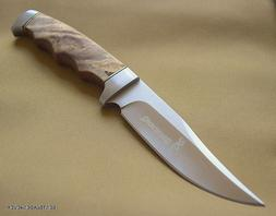 BROWNING BURL WOOD HANDLE FIXED BLADE HUNTING KNIFE WITH NYL