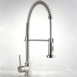 Brushed Nickel Kitchen Sink Faucet Pull Down Sprayer Single