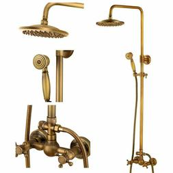 Bathtub Shower Faucet Set Wall Mount Shower Rod Kits Antique