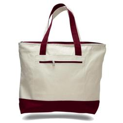 Canvas Zippered Tote with Colored Handles