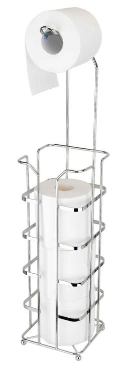 Chrome Plated Toilet Paper Holder, Free Standing , 4 Rolls H
