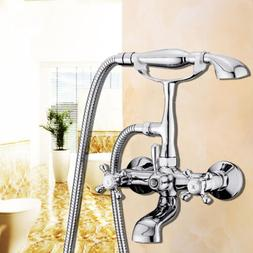 Classic Chrome Clawfoot Bath Tub Bathroom Faucet with Hand S