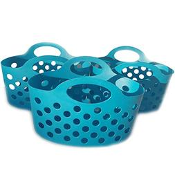 Small Colorful Plastic Basket with Handles for Organizing Pa