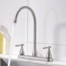 Commercial Modern Brushed Nickel Kitchen Faucet,Double Metal