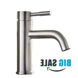 Contemporary Single Handle Brushed Nickel Bathroom Faucet Wi