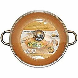 Copper Frying Pan 14-Inch With Tempered Glass Lid Non Stick