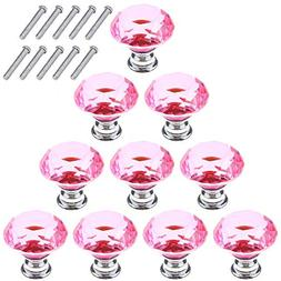 AKRover 10 Pcs Crystal Glass Cabinet Knobs 30mm Diamond Shap