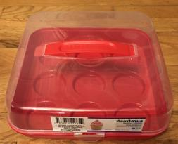 CUPCAKE PLASTIC CONTAINER LID WITH HANDLE CLASPS 9 CUPCAKES