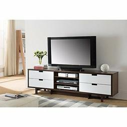 Benzara Dark Walnut/ Glossy White Wood TV Stand