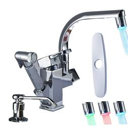 Deck Mounted Single Handle Kitchen Sink Faucet Swivel Tap Wi