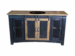 Burleson Home Furnishings 60 Inch Distressed Black Farmhouse