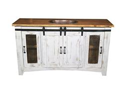 Burleson Home Furnishings 60 Inch Distressed White Farmhouse
