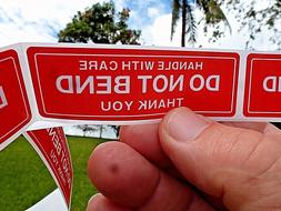 """DO NOT BEND HANDLE WITH CARE Stickers 1"""" x 3""""  Pack of 50 No"""