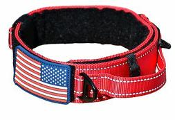 DOG COLLAR WITH CONTROL HANDLE MILITARY STYLE METAL QUICK RE