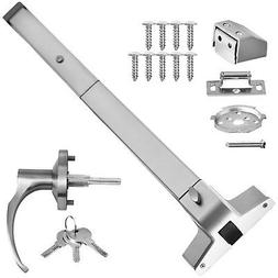 Door Push Bar With Handle Panic Exit Device Silver Stainless