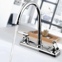 Double Dual Handle Spout Hot Cold Basin Sink Mixer Water Tap