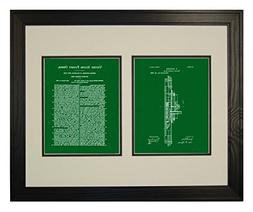 Double Ended Ram Patent Art Green Print in a Solid Pine Wood